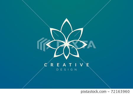 Design abstract flower and leaf logo for spa, hotel, beauty, health, fashion, cosmetic, boutique, salon, yoga, therapy. Simple and modern vector design for your business brand or product. 72163960