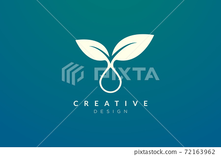 The design of the leaf and water droplet are combined. Modern minimalist and elegant vector illustration. Suitable for patterns, labels, brands, icons or logos 72163962