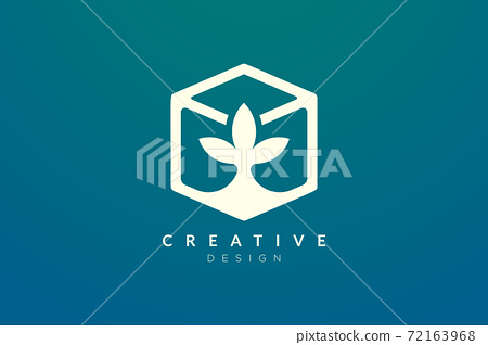 Hexagon and leaf shape design combined. Modern minimalist and elegant vector illustration. Suitable for patterns, labels, brands, icons or logos 72163968