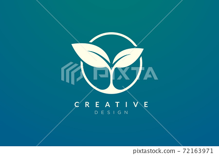 Leaf and circle combination logo design for spa, hotel, beauty, health, fashion, cosmetic, boutique, salon, yoga, therapy. Simple and modern vector design for your business brand or product. 72163971