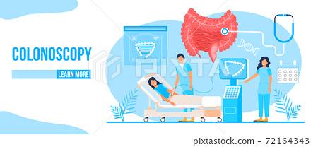 Colonoscopy concept vector for medical web. app. blog. Intestine doctors examine, treat dysbiosis. Tiny therapist of proctology make colonoscopy 72164343