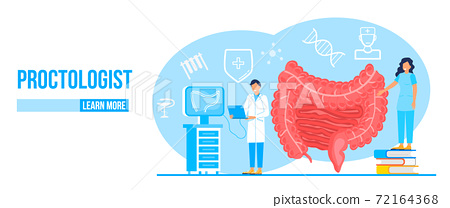 Proctologist concept vector for medical web. app. blog. Intestine doctors examine, treat dysbiosis. Tiny therapist of proctology colonoscopy. 72164368
