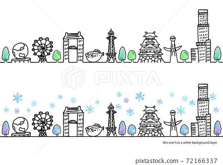 大阪的簡單手寫的冬季城市景觀線圖集 72166337