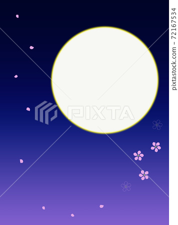 Cherry blossoms on a full moon night 72167534