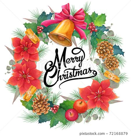 手繪水彩聖誕快樂聖誕花環與刻字 72168879