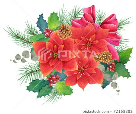 手繪水彩一品紅聖誕花環 72168882
