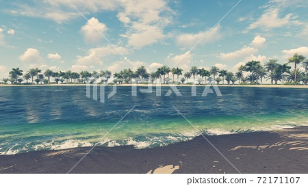 Empty tropical beach and clear ocean water 3D 72171107