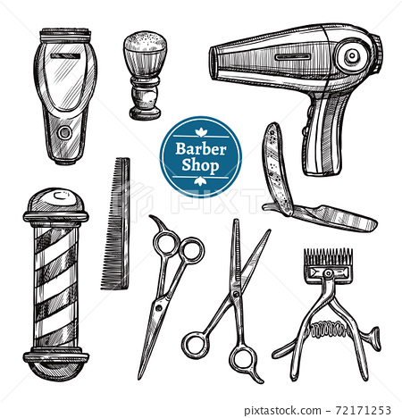 Barber Shop Set Doodle Sketch Icons 72171253