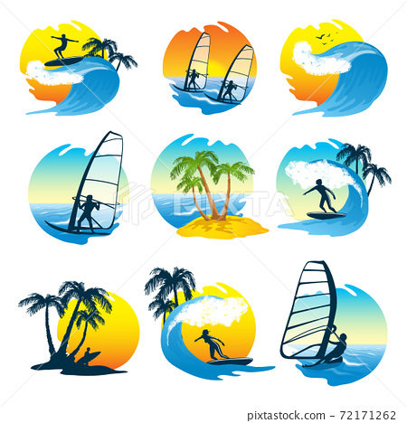 Surfing Icons Set  With People 72171262
