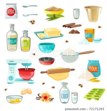 Baking Ingredients Colored Icons 72171265