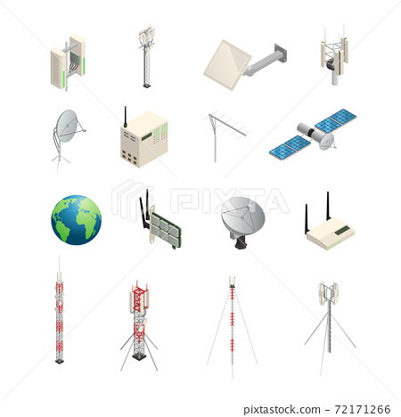 Wireless Communication Equipment Isometric Icons 72171266
