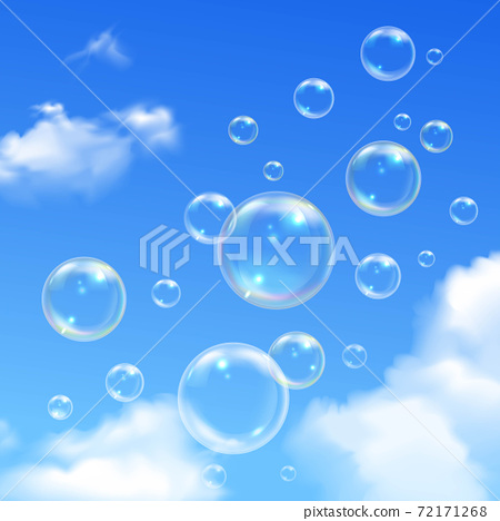 Soap Bubbles Blue Sky Realistic Background 72171268