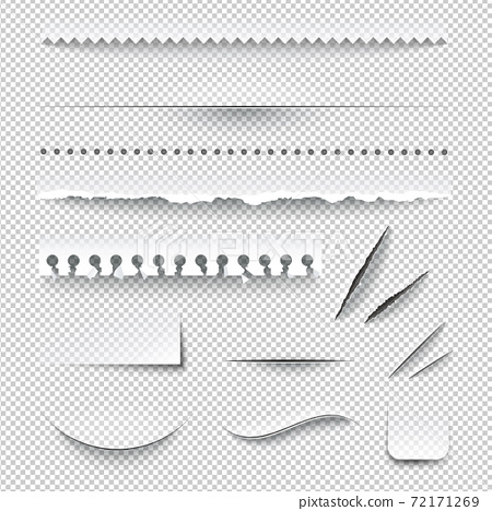 Transparent Checkered Paper Edges Realistic Set 72171269