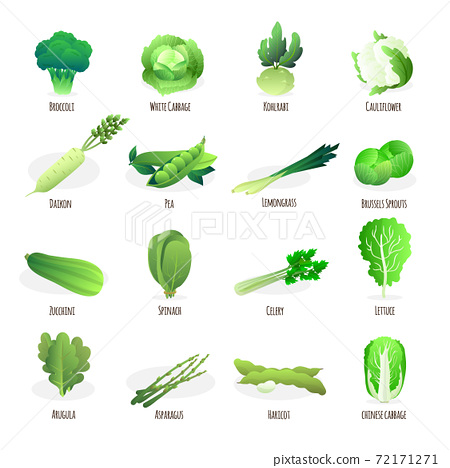 Green vegetables flat icons collection 72171271