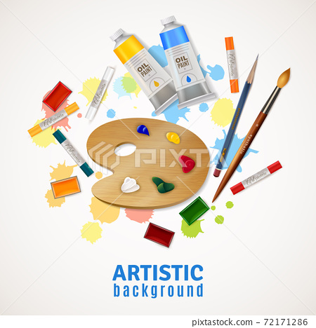 Artistic Background With Palette And Paints 72171286