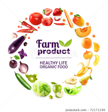 Vegetables And Fruits Rainbow Poster 72171290