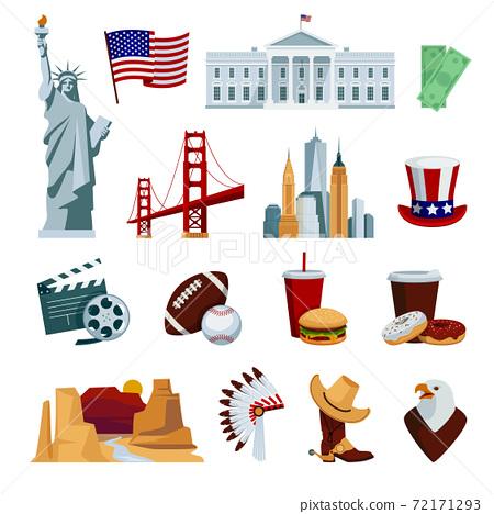 USA Flat Icons Set 72171293