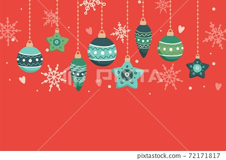 Christmas card with hanging decorations, vector illustration 72171817