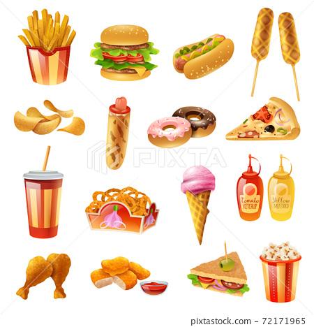 Fast Food Menu Colorful Icons Set 72171965