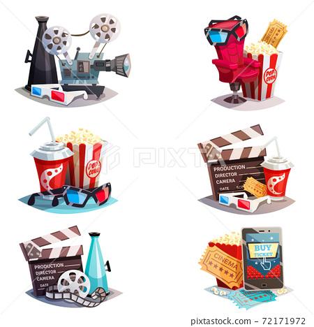 Set Of 3d Cartoon Cinema Design Concepts 72171972