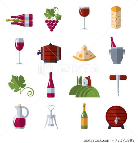 Wine flat icons set 72171995
