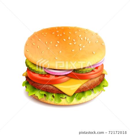 Hamburger Realistic Isolated 72172018