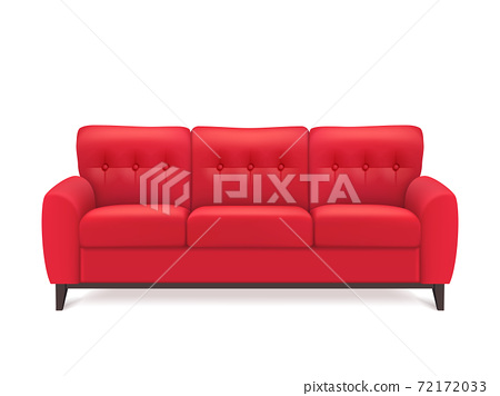 Red Leather Sofa Realistic Illustration 72172033