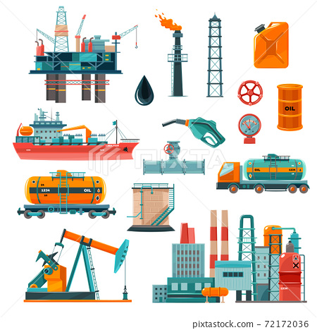 Oil Industry Cartoon Icons Set 72172036