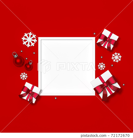 White gift box with red metallic ribbon and christmas ball ornaments with space frame on red background 3d rendering. 3d illustration minimal, celebration christmas and new year sale concept. 72172670