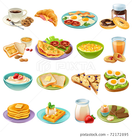 Breakfast Brunch Menu Food Icons Set 72172895