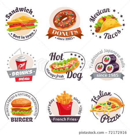 Fast Food Labels Set 72172916