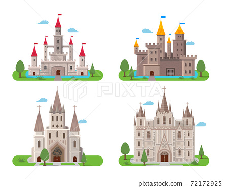 Medieval ancient castles set 72172925