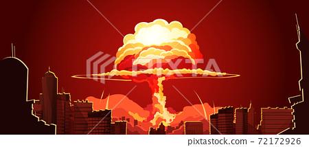 Nuclear Explosion Mushroom Cloud Retro Poster 72172926