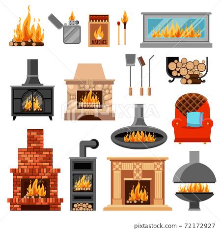 Fireplaces Icons Set 72172927