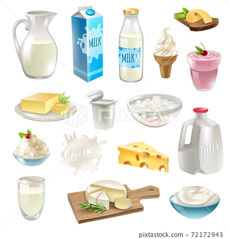 Milk Products Icons Set 72172943