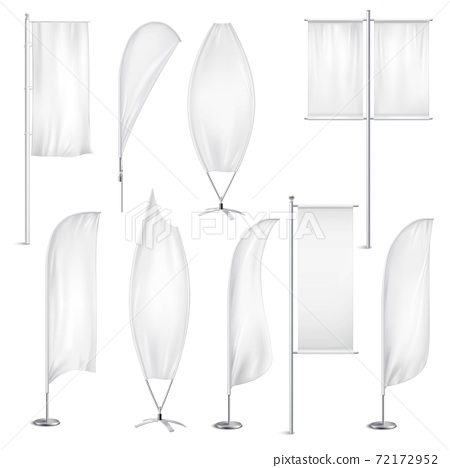 Blank White Flags Banners Realistic Set 72172952