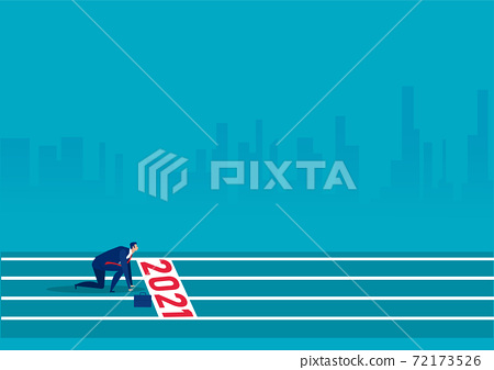Businessman starting line and ready to New Year 2021 blue background Vector illustration 72173526