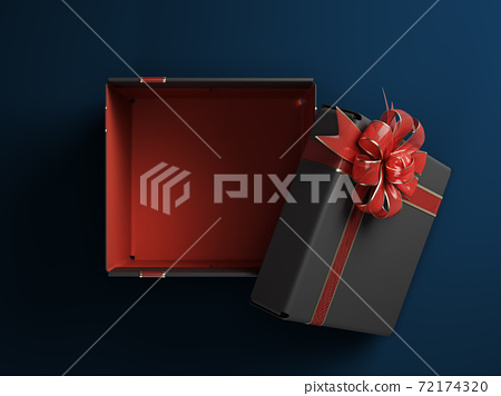 open empty black Gift Boxe whith red ribon 3d render on darck lue background 72174320