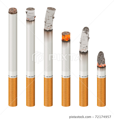 Realistic Cigarettes Set Stages Of Burn 72174957