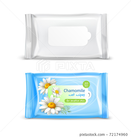 Wet Wipes Package Realistic Set 72174960