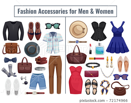 Men And Women Accessories Icon Set 72174966