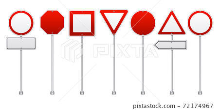 Red Road Signs Realistic Set 72174967