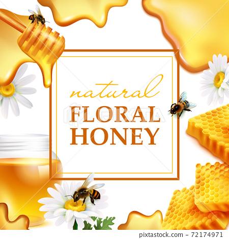 Natural floral honey colorful frame 72174971