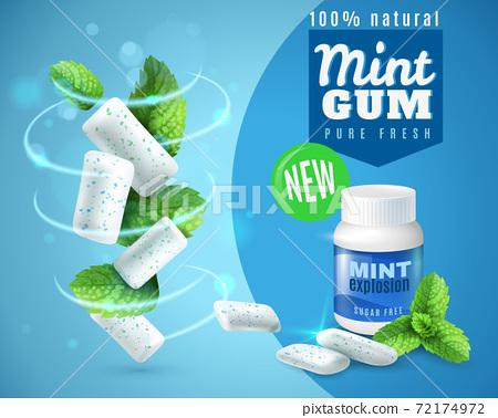 Realistic Mint Gum Poster 72174972