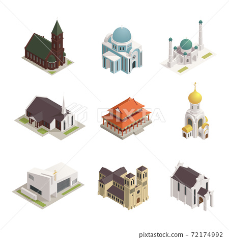 Church Cathedral Mosque Isometric Icons 72174992