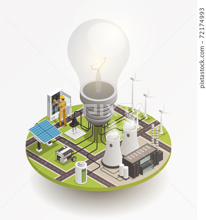 Electric Power Isometric Composition Icon 72174993
