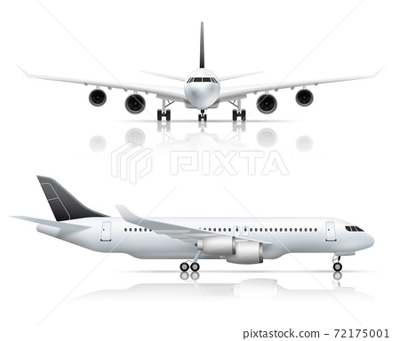 Airliner Front Side Realistic View 72175001