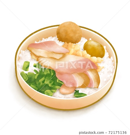 The digital painting of delicious Taiwanese railway lunch box takeaway bento food isometric icon raster illustration on white background. 72175136