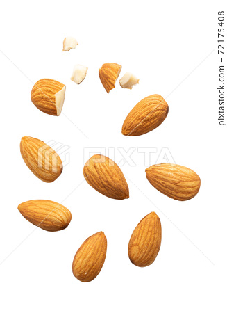 Top view Almonds isolated on white background 72175408