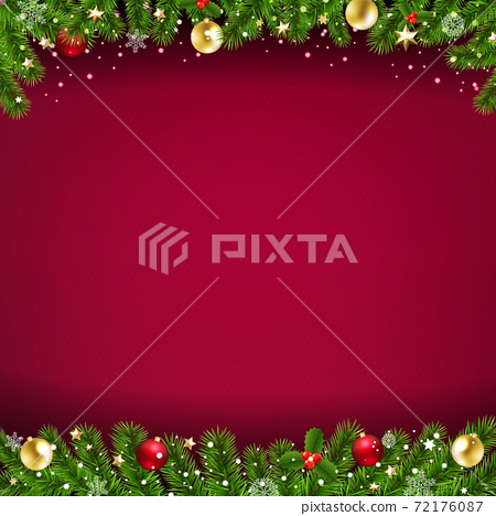 Happy New Year Card Red Background And Christmas Border 72176087